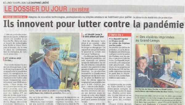 Article masques visières du Dauphiné Libéré du 13-04-20