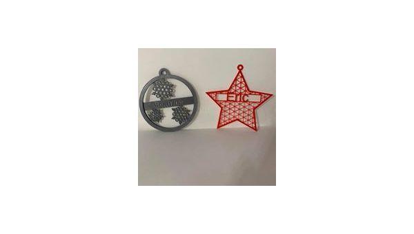 Boule de noël ou étoile de noël avec prénom